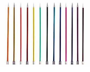 KnitPro 25cm Straight Knitting Needles Zing